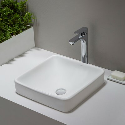 Elavo Ceramic Square Drop-In Bathroom Sink with Overflow Drain Finish: Chrome