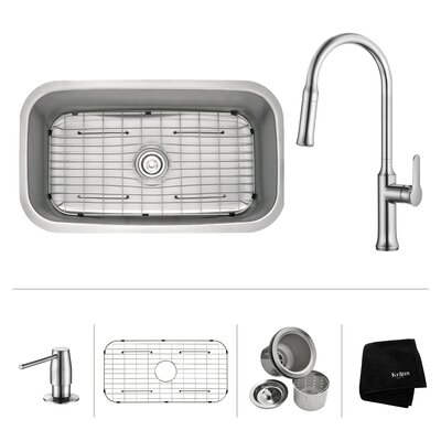 Kitchen Combos 31.5 x 18.38 Undermount Kitchen Sink with Faucet/Soap Dispenser Faucet Finish: Chrome