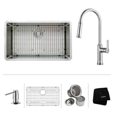 Kitchen Combos 32 x 19 Undermount Kitchen Sink with Kitchen Faucet/Soap Dispenser Faucet Finish: Chrome