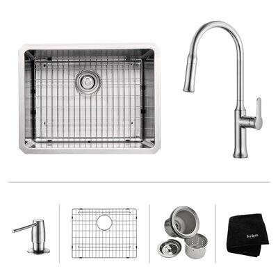 23 x 18 Undermount Kitchen Sink with Kitchen Faucet/Soap Dispenser Faucet Finish: Chrome