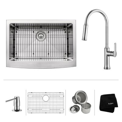 Kitchen Combos 30 x 18.38 Undermount Kitchen Sink with Faucet/Soap Dispenser Faucet Finish: Chrome
