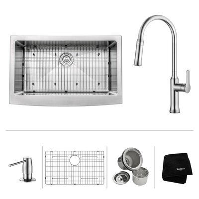 Kitchen Combos 33 x 20.75 Farmhouse/Apron Kitchen Sink with Faucet Faucet Finish: Chrome