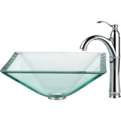 Aquamarine Glass Square Vessel Bathroom Sink Faucet Finish: Chrome