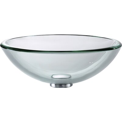 Clear thick Glass Circular Vessel Bathroom Sink Finish: Satin Nickel
