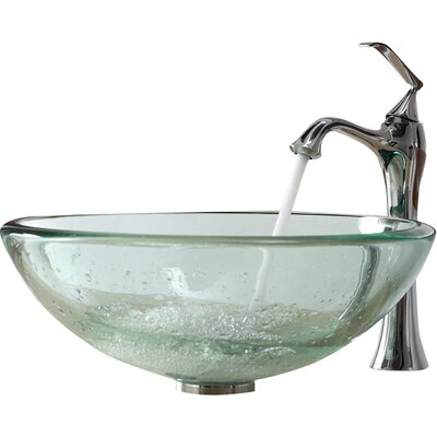 Glass Circular Vessel Bathroom Sink Finish: Brushed Nickel