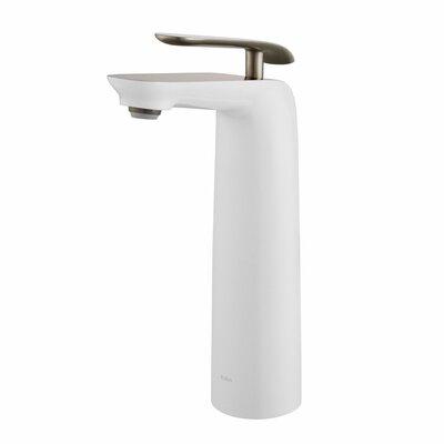 Seda Single Hole Single Handle Bathroom Faucet Finish: Brushed Nickel/White