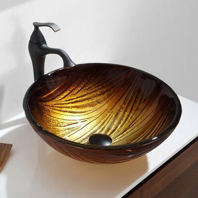 Midas Glass Circular Vessel Bathroom Sink