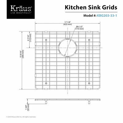Stainless Steel Sink Grid Size: 17 x 16