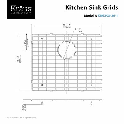 Stainless Steel Sink Grid Size: 19 x 16