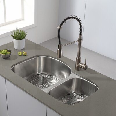 32 x 20 Double Basin Undermount Kitchen Sink with NoiseDefend� Soundproofing