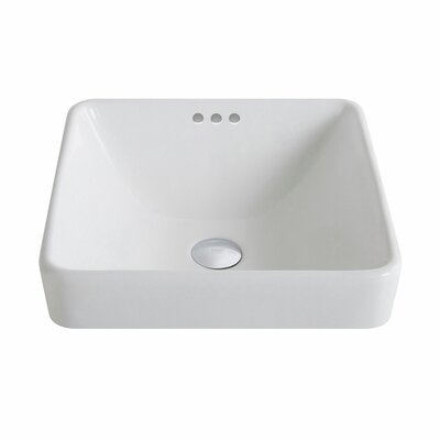 Elavo Ceramic Square Drop-In Bathroom Sink with Overflow