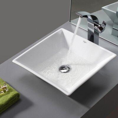 Ceramic Square Vessel Bathroom Sink Drain Finish: No Drain