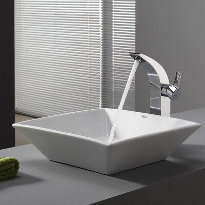 Ceramic Square Vessel Bathroom Sink Drain Finish: Satin Nickel