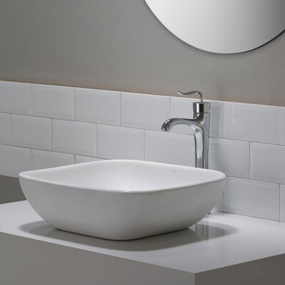 Elavo Ceramic Square Vessel Bathroom Sink