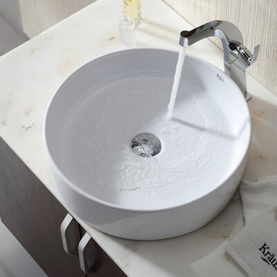 Ceramic Ceramic Circular Vessel Bathroom Sink Drain Finish: Satin Nickel