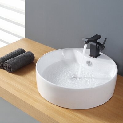 Ceramic Ceramic Circular Vessel Bathroom Sink with Overflow Drain Finish: Chrome