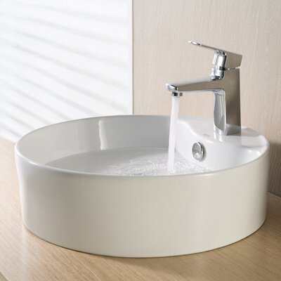 Ceramic Circular Vessel Bathroom Sink with Overflow Drain Finish: Chrome