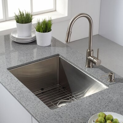Kraus Single Handle Pull Out Sprayer Kitchen Faucet In Satin Nickel