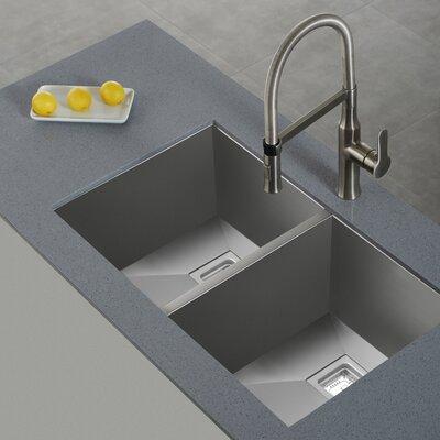 Pax 31.5 x 18.5 Double Basin Undermount Kitchen Sink