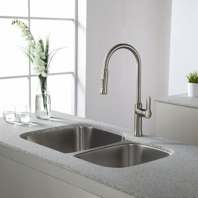 Nola Pull Down Single Handle Kitchen Faucet Finish: Stainless Steel