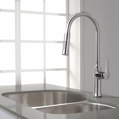 Nola Single Handle Deck Mount Pull Down Kitchen Faucet Finish: Chrome