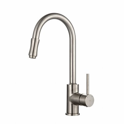 Premium Faucet Single Handle Pull Down Kitchen Faucet with Dual Function Sprayer Finish: Satin Nickel