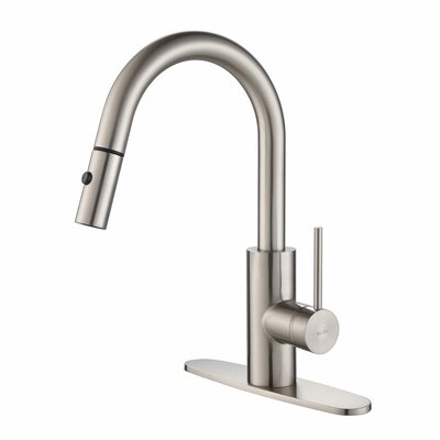 Oletto Pull Down Single Handle Kitchen Faucet Finish: Stainless Steel