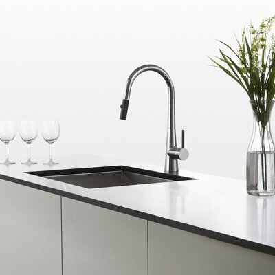 Crespo Pull Down Single Handle Kitchen Faucet Finish: Chrome