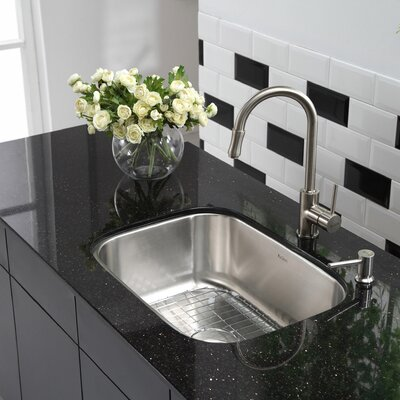 Stainless Steel 23 x 17.6 4 Piece Undermount Ktchen Sink Set with NoiseDefend Soundproofing