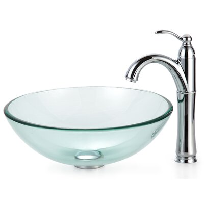 Clear Glass Glass Circular Vessel Bathroom Sink with Faucet Mounting Ring Finish: Chrome