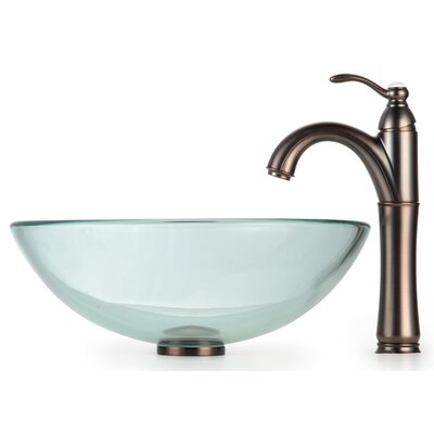Clear Glass Circular Vessel Bathroom Sink Mounting Ring Finish: Oil Rubbed Bronze