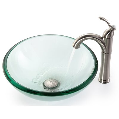 Clear Glass Circular Vessel Bathroom Sink Mounting Ring Finish: Satin Nickel