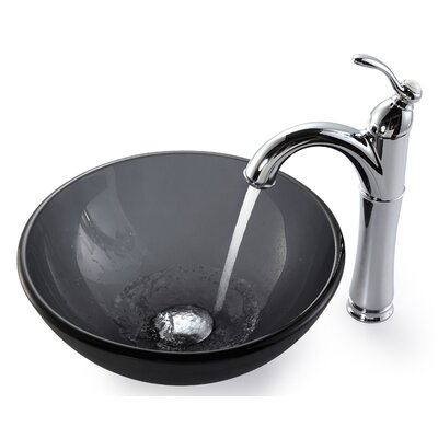 Frosted Circular Vessel Bathroom Sink Faucet Finish: Chrome