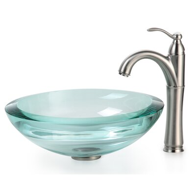 Clear Glass Glass Circular Vessel Bathroom Sink with Faucet Mounting Ring Finish: Satin Nickel