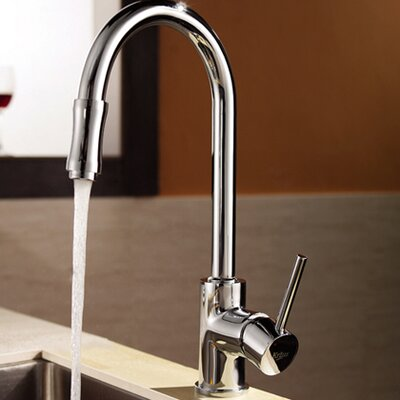 Premium Faucet Single Handle Pull Down Kitchen Faucet with Dual Function Sprayer Finish: Chrome