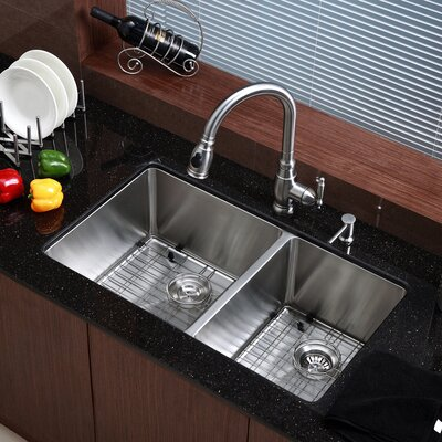 Stainless Steel 32.75 x 19 Double Bowl Undermount Kitchen Sink with NoiseDefend Soundproofing