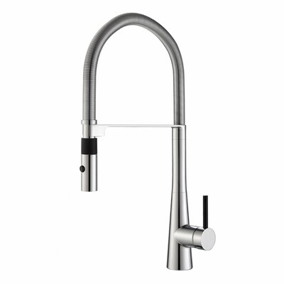 Crespo� Commercial Style Single Handle Pull Down/Pull Out Standard Kitchen Faucet with Dual-Function Sprayer Finish: Chrome
