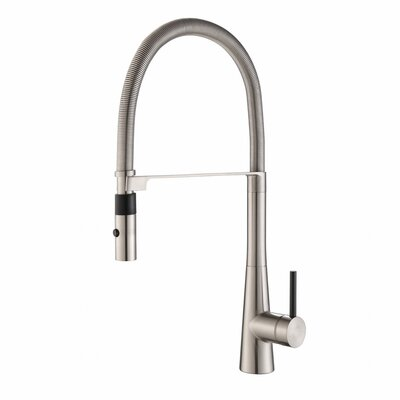 Crespo� Commercial Style Single Handle Pull Down/Pull Out Standard Kitchen Faucet with Dual-Function Sprayer Finish: Stainless Steel