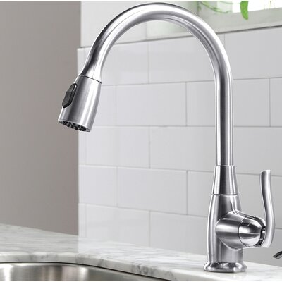 Premium Faucets Pull Down Single Handle Kitchen Faucet Finish: Chrome, Soap Dispenser: Without Soap Dispenser