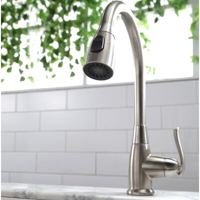 Premium Faucets Pull Down Single Handle Kitchen Faucet Finish: Satin Nickel, Soap Dispenser: Without Soap Dispenser