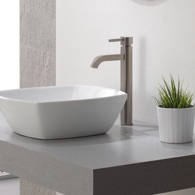 Ramus Single-Handle Vessel Sink Bathroom Faucet Finish: Satin Nickel