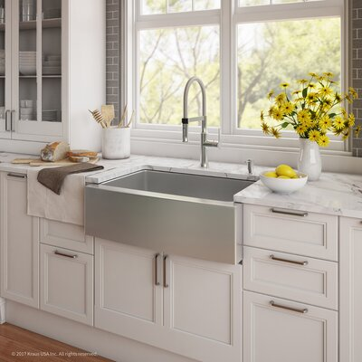 Handmade Series 29.75 x 20.75 Farmhouse Kitchen Sink with Faucet and Soap Dispenser