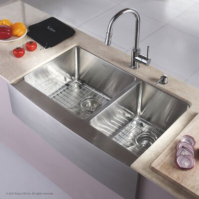 Stainless Steel 32.88 x 20.75 Double Basin Farmhouse Kitchen Sink with NoiseDefend Soundproofing Rectangular  Bathroom Sink