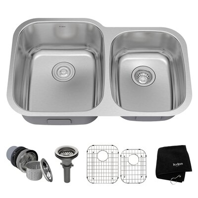 32 x 20.63 Double Basin Undermount Kitchen Sink