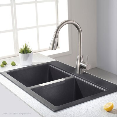 Granite 33.5 x 22 Double Basin Undermount Kitchen Sink