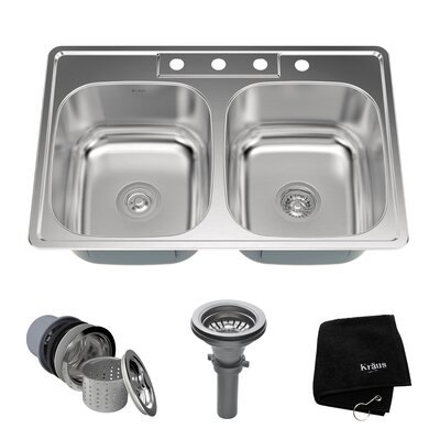 Stainless Steel 33 x 22 Double Basin Drop-In Kitchen Sink
