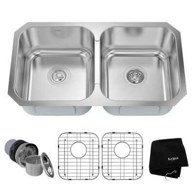 31.38 x 18 Double Basin Undermount Kitchen Sink