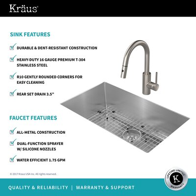Handmade Series 30 x 18 Undermount Kitchen Sink with Faucet and Soap Dispenser