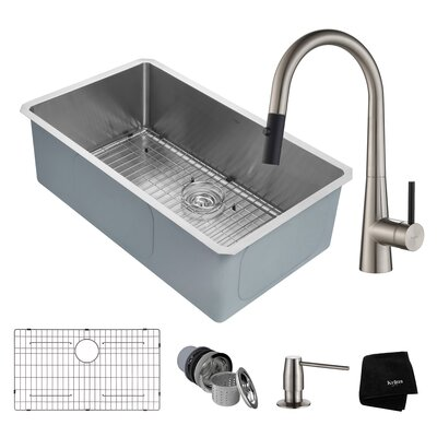 Handmade Series 32 x 19 Undermount Kitchen Sink with Faucet and Soap Dispenser