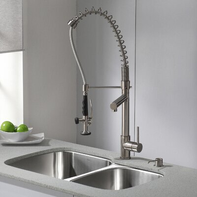 Single Handle Pull Down Deck Mounted Kitchen Faucet Finish: Stainless Steel